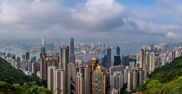 Panorama of Hong Kong from the Victoria Peak, Hong Kong, China