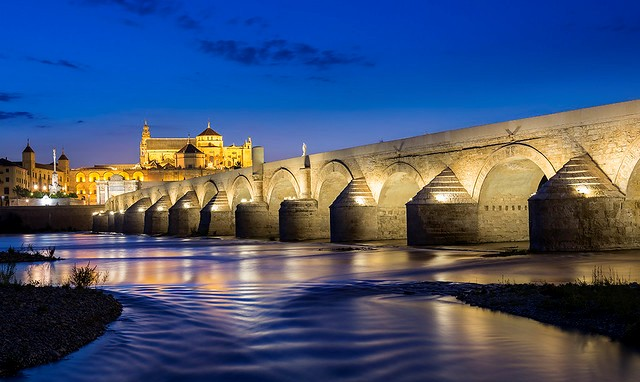 Puente Romano with the Mezquita at Night, Córdoba, Andalusia, Spain
