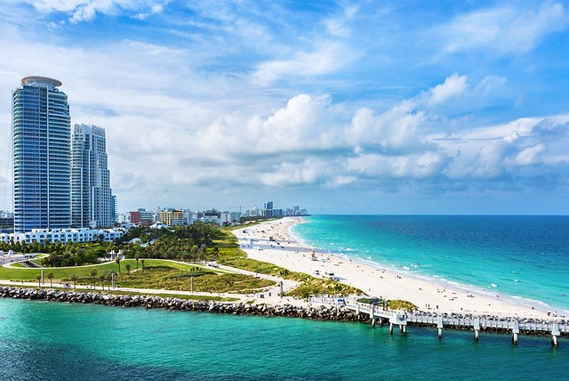 South Point Park and Lummus Park Beach, South Beach, Miami Beach, Florida, United States