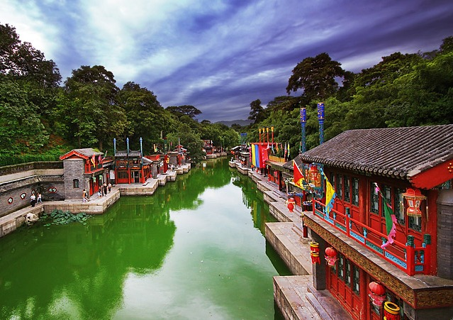 Picturesque Suzhou Street, Summer Palace, near Beijing, China