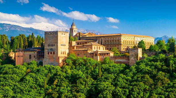 The Alhambra, Rising Above the Modern Town, Granada, Andalusia, Spain