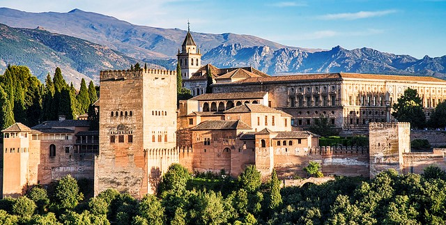 The Alhambra with Sierra Nevada in Background, Granada, Andalusia