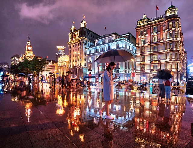 Bund Reflection, The Bund on a Rainy Night, Shanghai, China