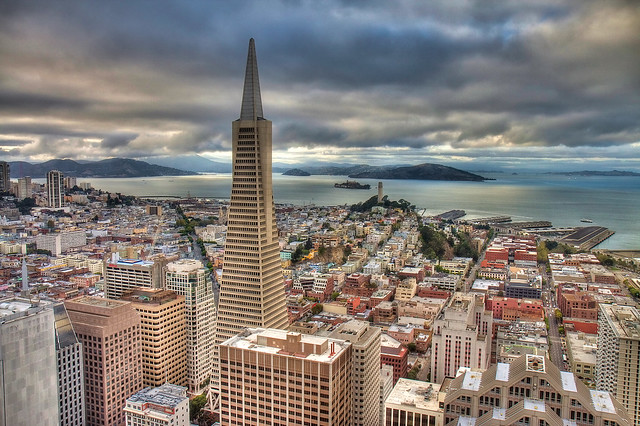 The Financial District and Transamerica Pyramid with Coit Tower and Alcatraz Island in Background, San Francisco, California, United States