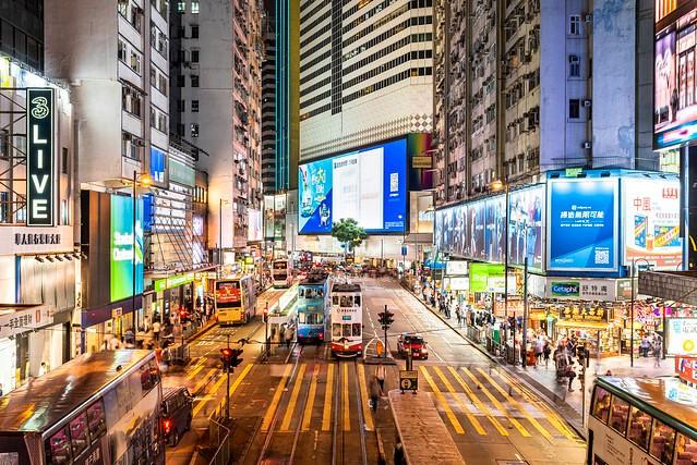Trams, Hennessy Road, Causeway Bay, Hong Kong Island, Hong Kong, China