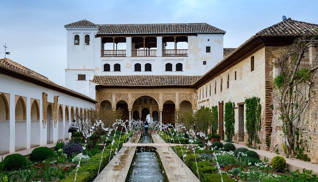 Patio de la Acequia, Generalife, Granada, Andalusia, Spain