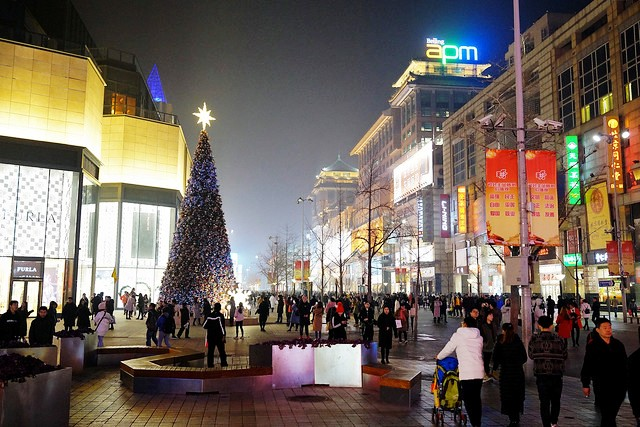Walking along Wangfujing at Christmas Time, Beijing, China