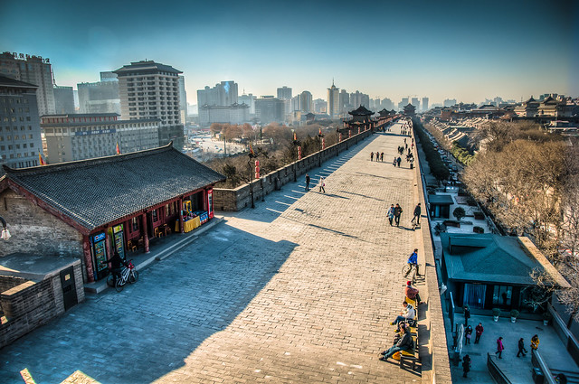 Xian Ancient City Walls in a Sunny Day, Xian, China