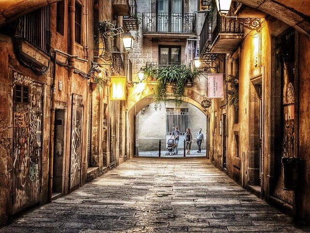 A Quiet Street in El Born, Ciutat Vella, Barcelona, Catalunya, Spain