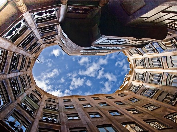 Courtyard from the Bottom, Casa Milà, La Pedrera, Eixample, Barcelona, Spain