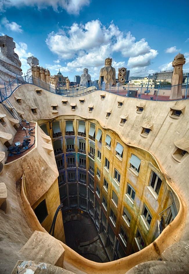 Courtyard from the Warrior Rooftop, Casa Milà, La Pedrera, Eixample, Barcelona, Spain