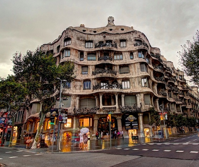 Great View of Casa Milà, La Pedrera, Eixample, Barcelona, Spain