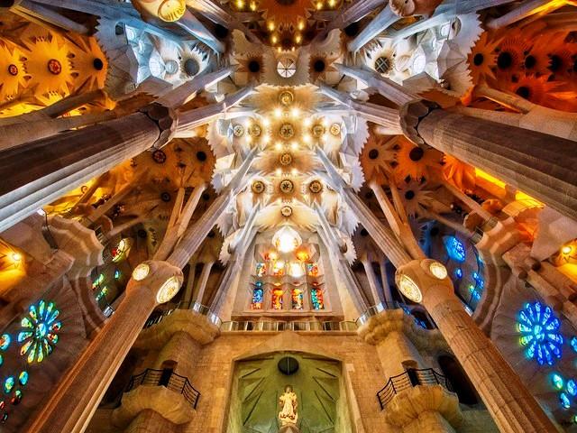 Interior of the Church, Sagrada Família, Barcelona, Spain
