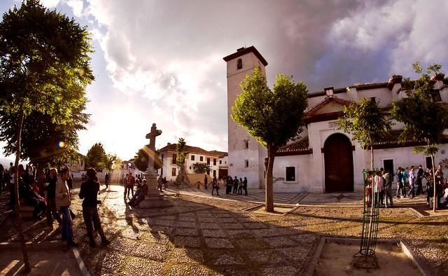 Mirador de San Nicolás, Albaicín, Granada, Andalusia, Spain