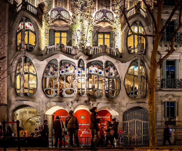 Night View of Casa Batlló, Eixample, Barcelona, Spain