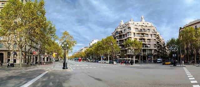 Passeig de Gràcia with Casa Milà, Eixample, Barcelona, Spain