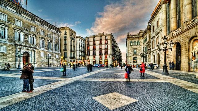 Plaça de Sant Jaume, Barrio Gotico, Ciutat Vella, Barcelona, Spain