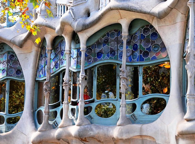 Windows, Casa Batlló, Eixample, Barcelona, Spain