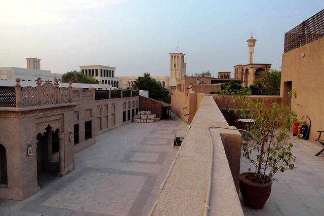 Al Fahidi Historic District from Orient Guesthouse, Bastakiya Old Dubai, United Arab Emirates