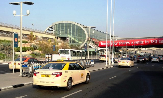 Taxi in front of Terminal 3 Metro Station, Dubai Airport, Dubai, UAE