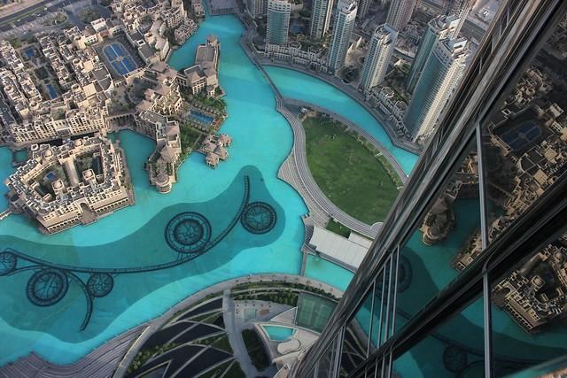 Dubai Fountain, Souk Al Bahar and Khalifa Lake from Burj Khalifa, Downtown Dubai, Dubai, United Arab Emirates