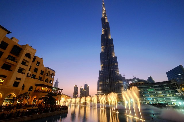Dubai Fountain and Burj Khalifa, Downtown Dubai, Dubai, United Arab Emirates