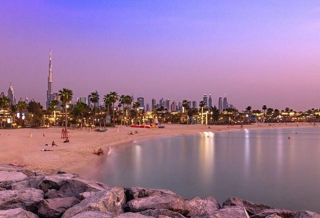 La Mer Beach at Sunset, Jumeirah Beach, Dubai, UAE