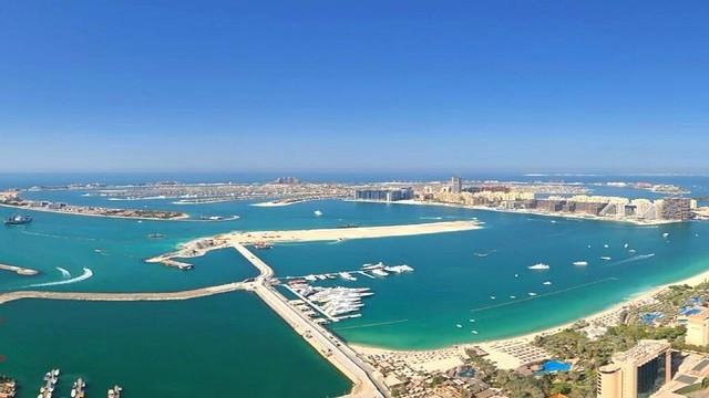 Mina Seyahi Beach and Palm Jumeirah from Princess Tower Highest World Penthouse Floor 86, Mina Seyahi, Dubai, UAE