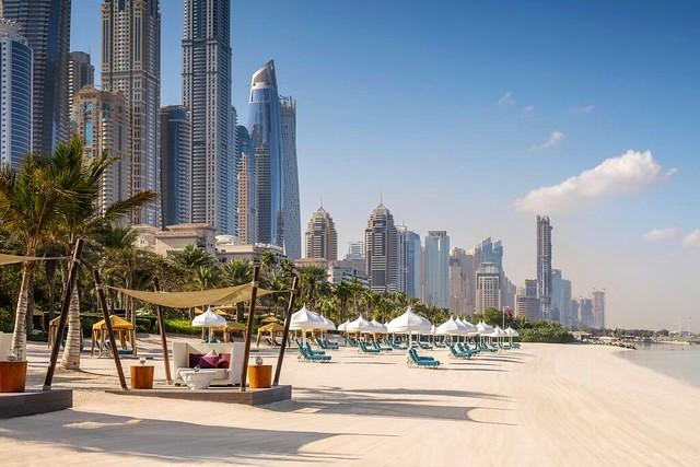 Mina Seyahi Beach in front of One&Only with Dubai Marina in Background, Dubai, UAE