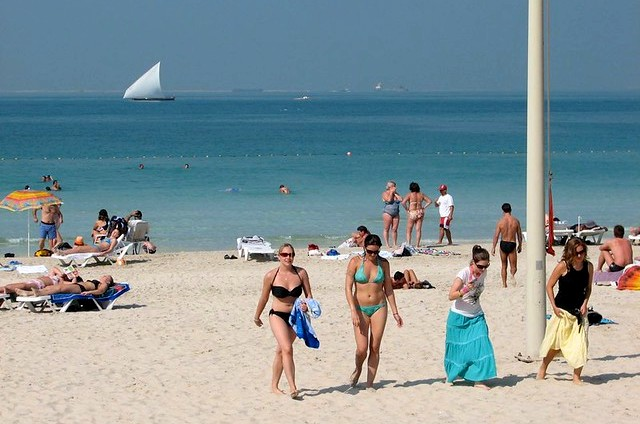 Tourists on the Beach, Dubai, UAE