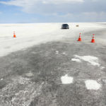 Start of the salt surface at the end of the Access Road at Bonneville Salt Flats near Wendover Utah United States of America