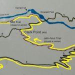 Detailed Map of Panorama Trail between Nevada and Vernal Fall Yosemite NP CA USA