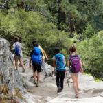 Hikers on John Muir Trail between Nevada Fall and Clark Point Yosemite NP CA USA